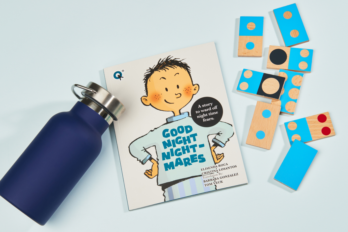 Cover of the book Good Night Nightmares with an illustration of a boy on a blue pyjamas looking courageous