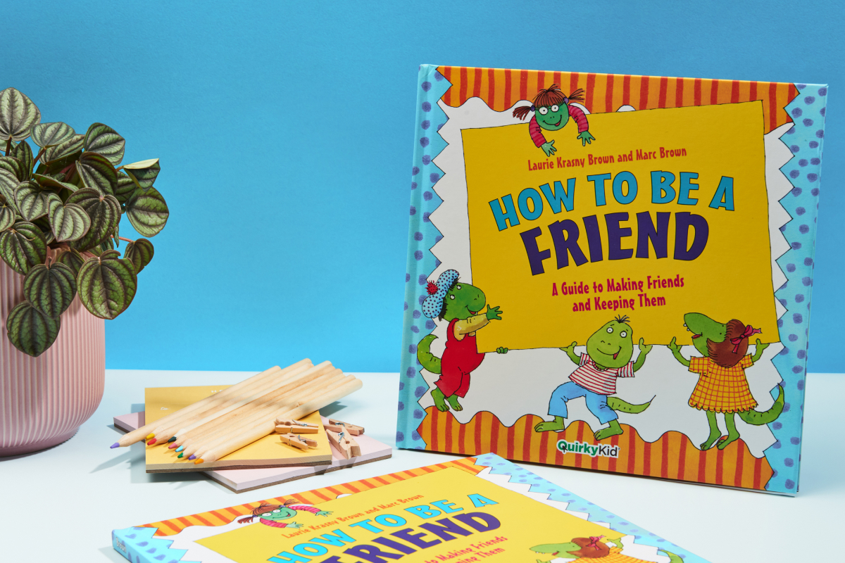 Product Photograph of the How to be a Friend by Quirky Kid showing the book cover next to some craft materials.