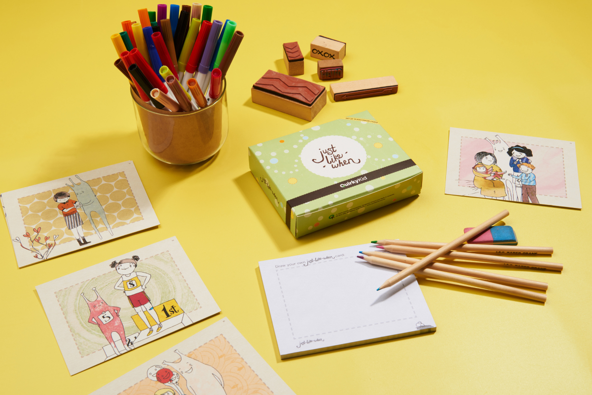 Product Photography of the Just Like When Cards by Quirky Kid showing the box and some of the flash card in a table with some craft materials