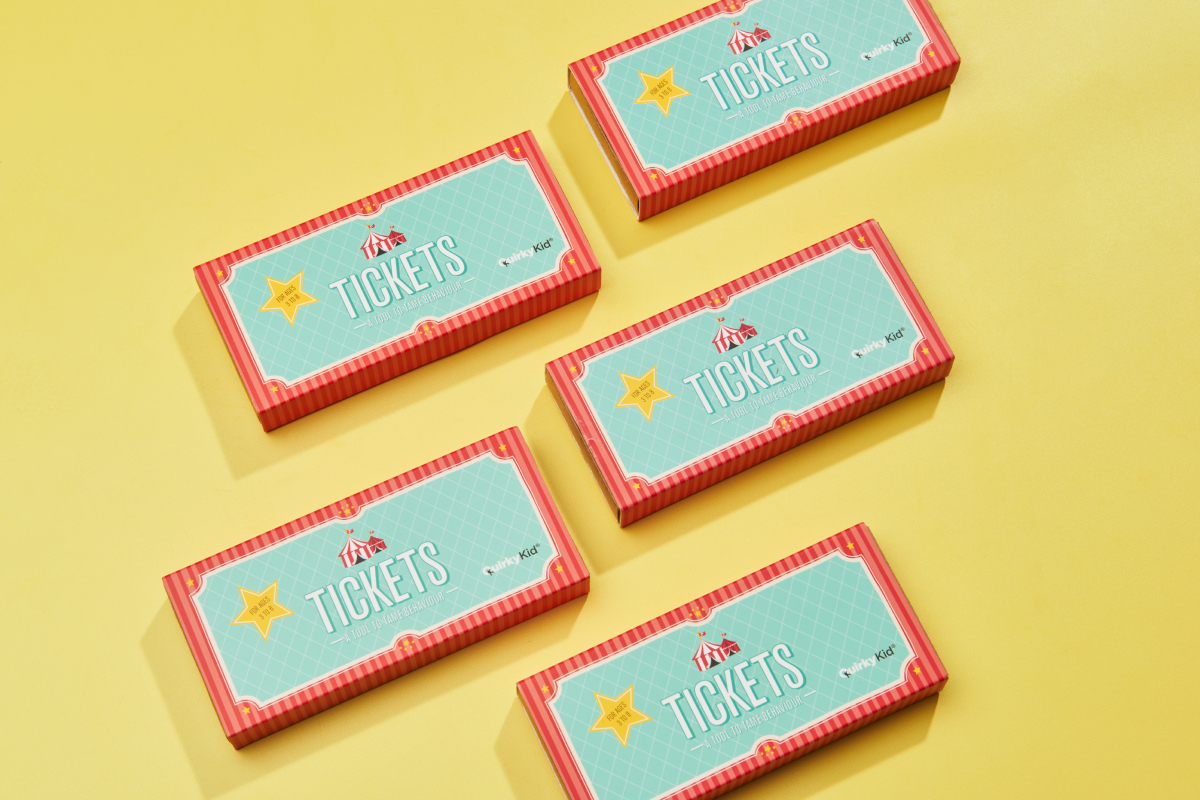 Product Photography of the Tickets by Quirky Kid showing the product boxes in a geometrical formation.
