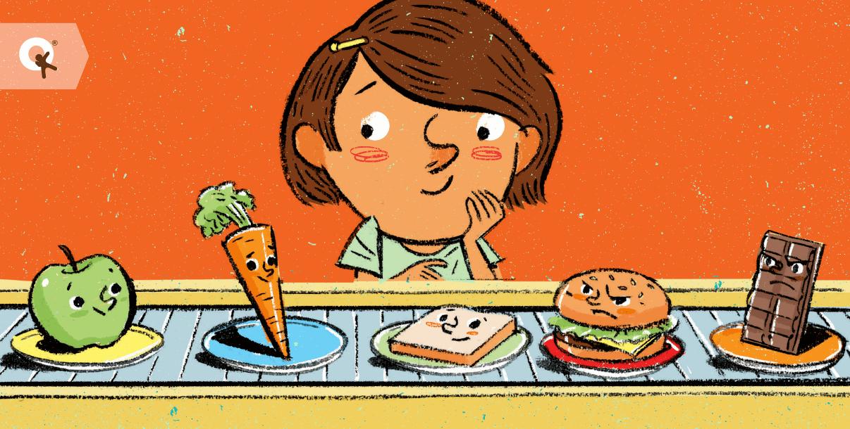 child choosing healthy food