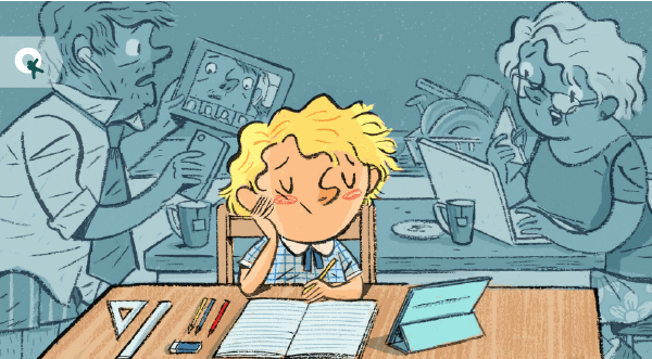 child relaxed working from home with help of quirky kid