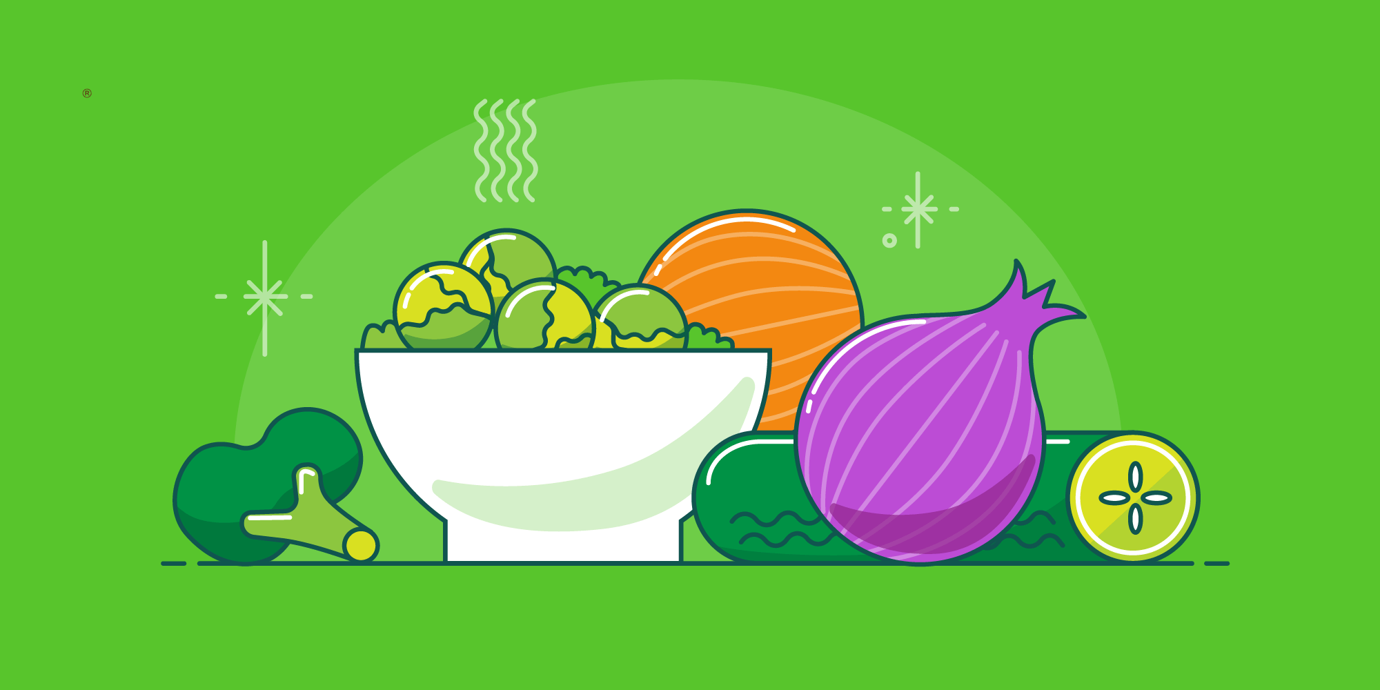 Illustrations of vegetables on a table to help kids eat veggies