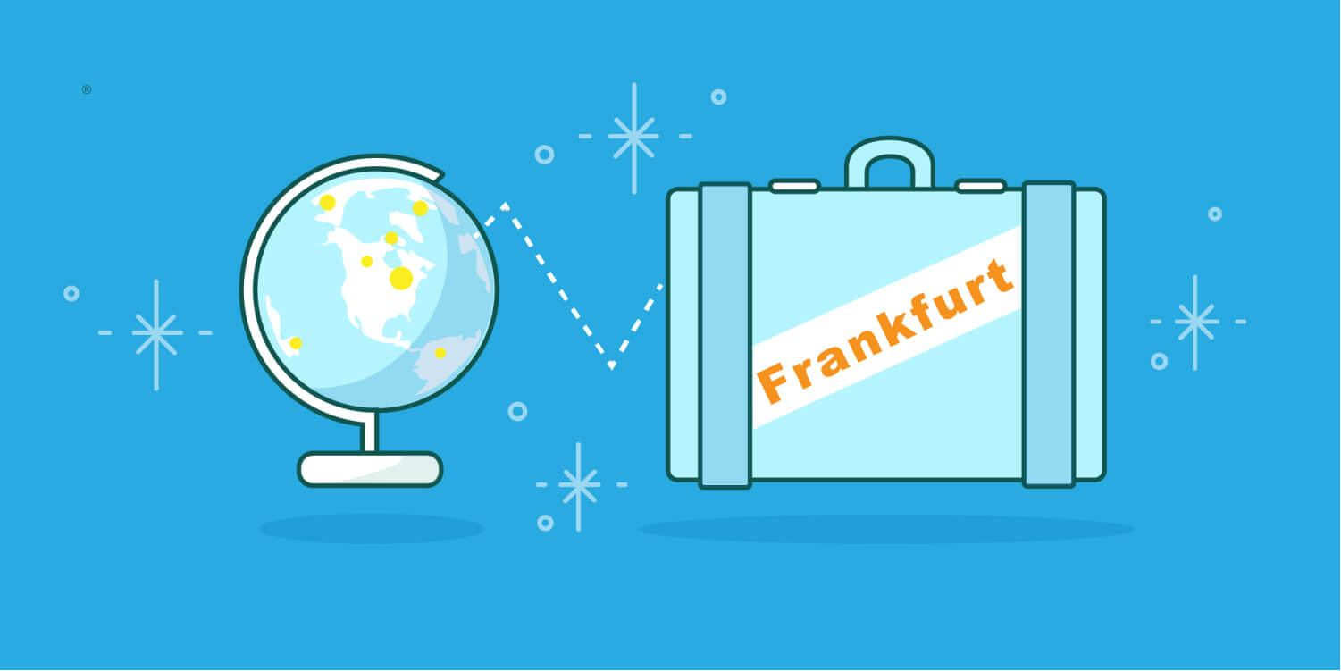 Graphic designed image of a glob and a travel back with the words Frankfurt