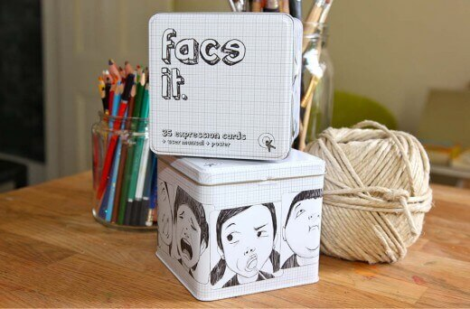 image of the face it card in a box