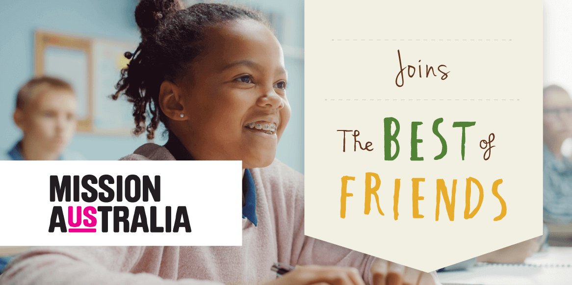 Image of Happy child celebrating the use of the best of friends program by mission australia