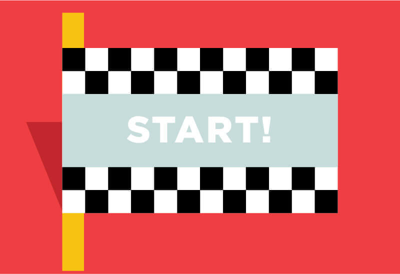 Illustrated checked flag with the word Start