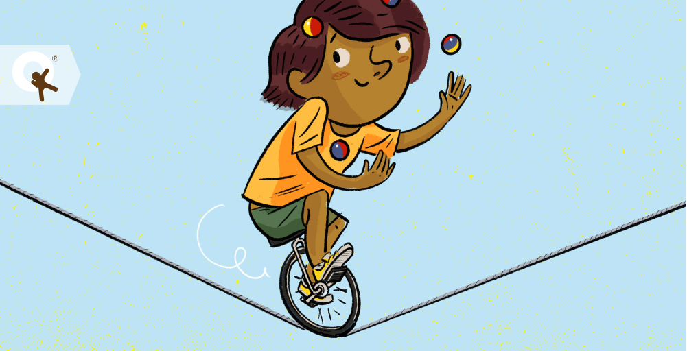 Illustration of a girl riding a unicycle on a tightrope