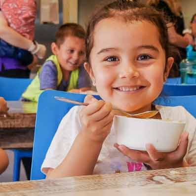 Child eating happily