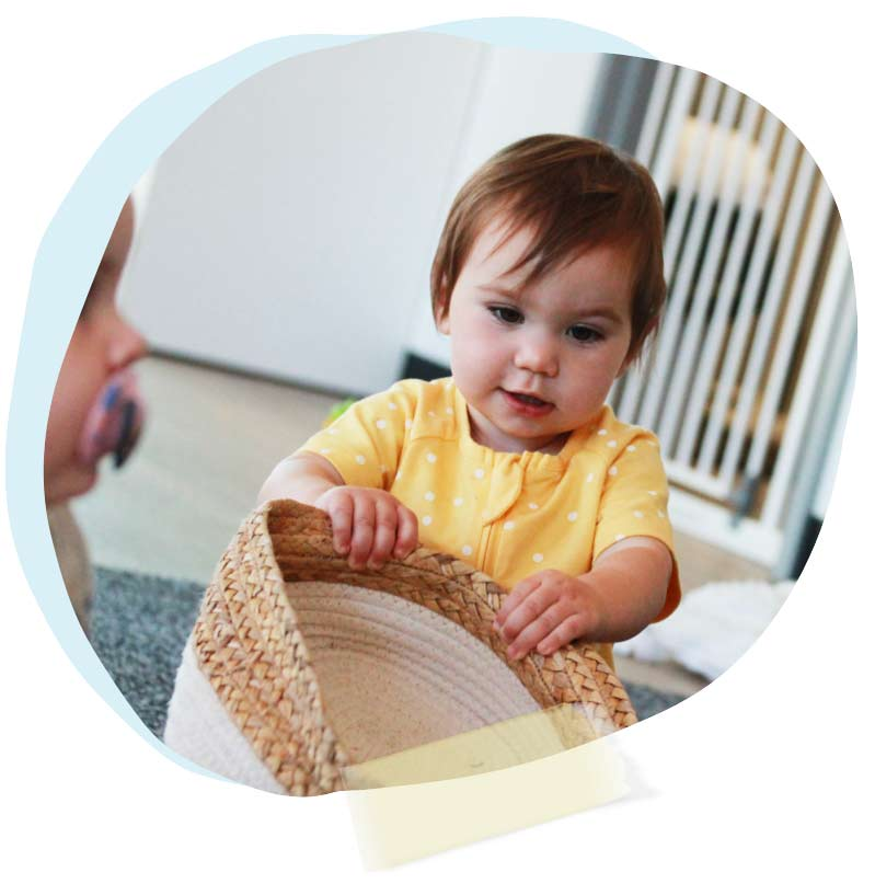 Cute baby playing in nursery
