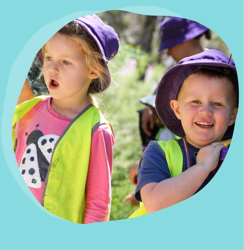 Young boy and girl on fun day excursion