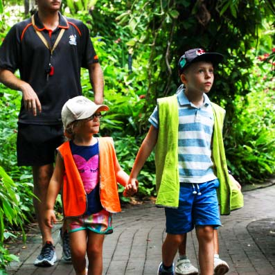 Boy and girl on excursion at zoo