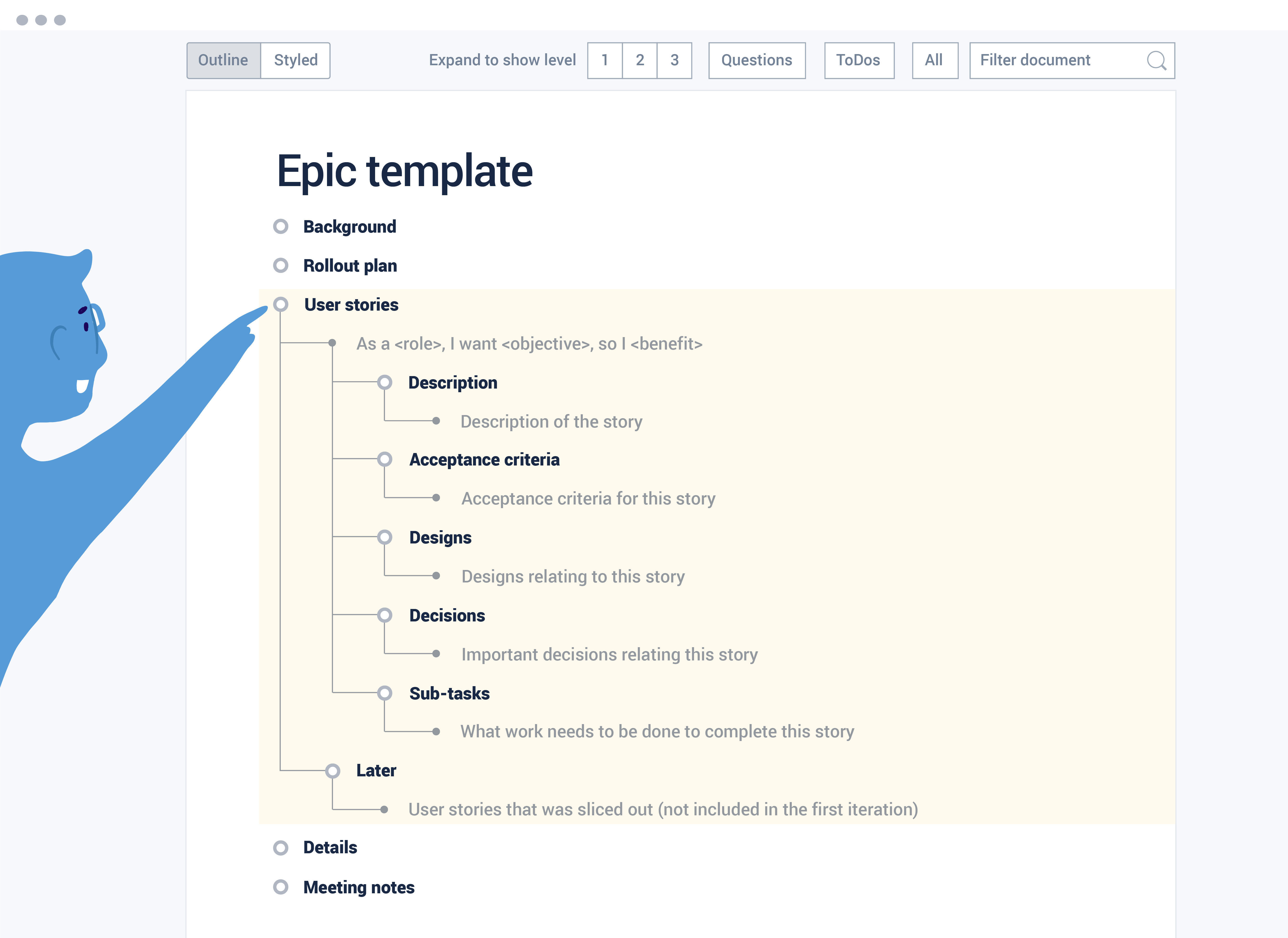 Epic with User story template