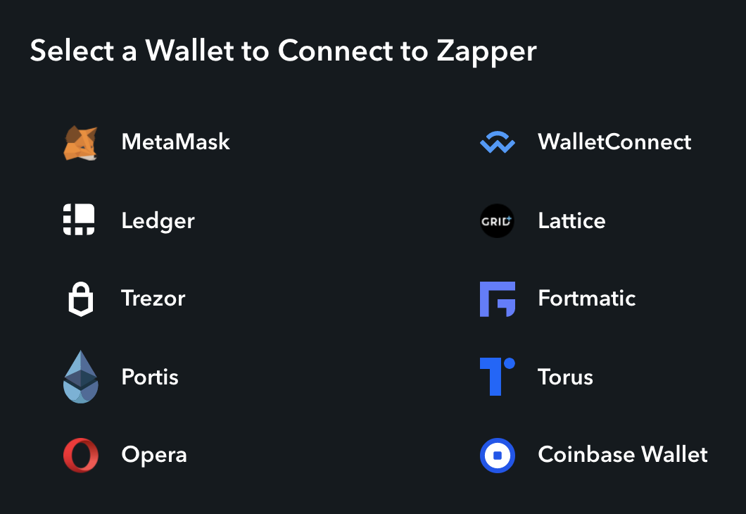 Connect your crypto wallet to Zapper