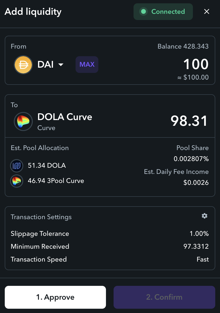 How to Invest in DOLA-3CRV LP with Zapper Pools