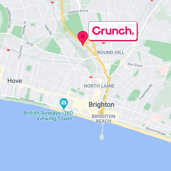 Map of the Crunch offices located in Brighton