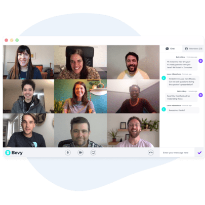 9 people smiling and chatting on a video conference