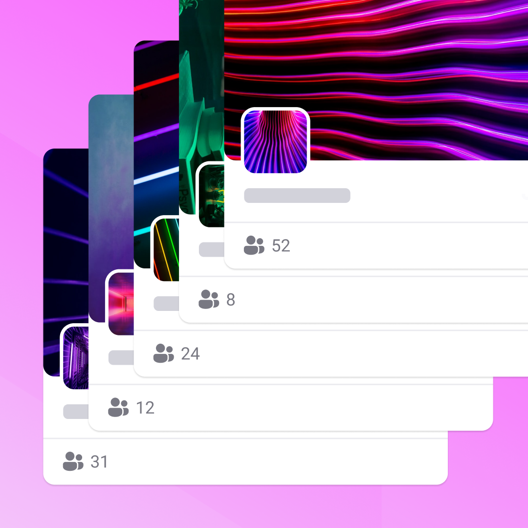 thumbnails of various Tevent Spaces on a light purple background.