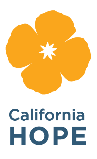 Logo for California Hope, yellow poppy flower with blue text