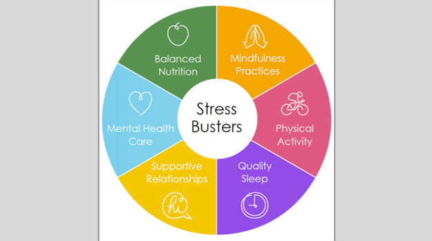 A colorful wheel describing ways to cope with stress, such as quality sleep, physical activity, and balanced nutrition