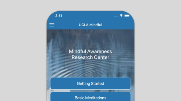 A phone with the Mindfulness Meditation app