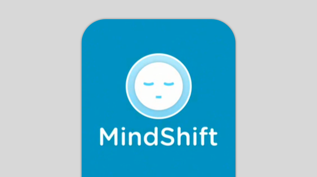 A picture of the app with a cartoon face sleeping in a blue background