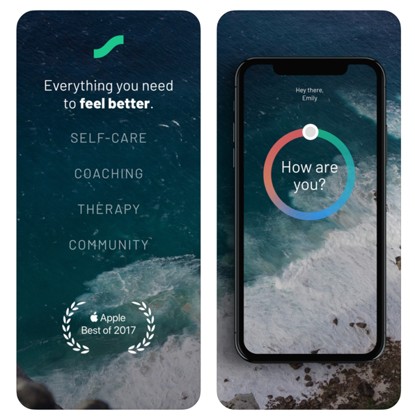 A phone with the Sanvello: Anxiety and Depression app
