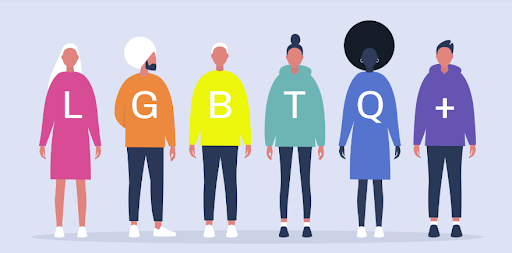 A drawing of a diverse group of faceless people wearing clothing the color of a rainbow each with a letter on the piece of clothing to spell out LGBTQ+