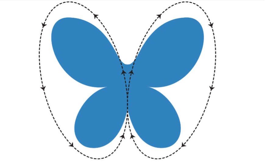 A drawing of a blue butterfly with a dotted line outline