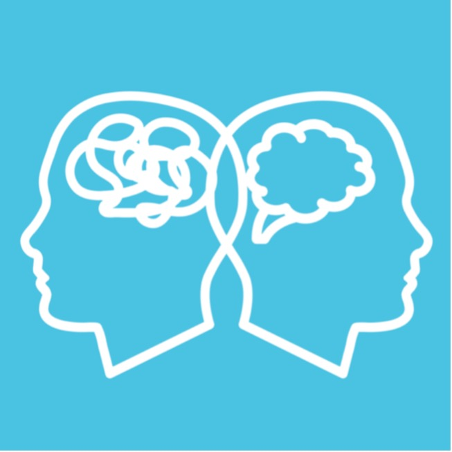 White outline of two heads facing away from each other with a teal blue background. One has a clear mind and the other has many squiggles in their mind.