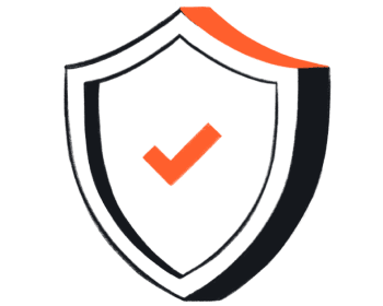 A drawing of a shield with an orange check mark.