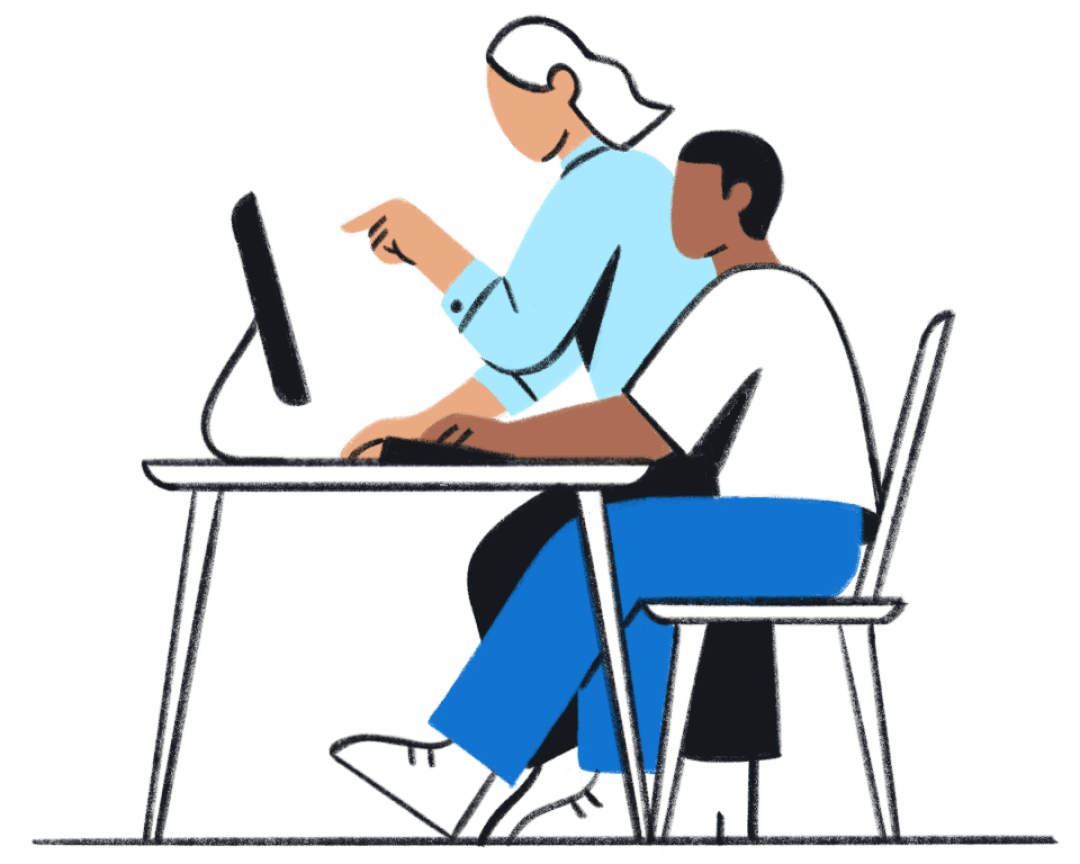 A drawing of two people looking at a computer screen together.