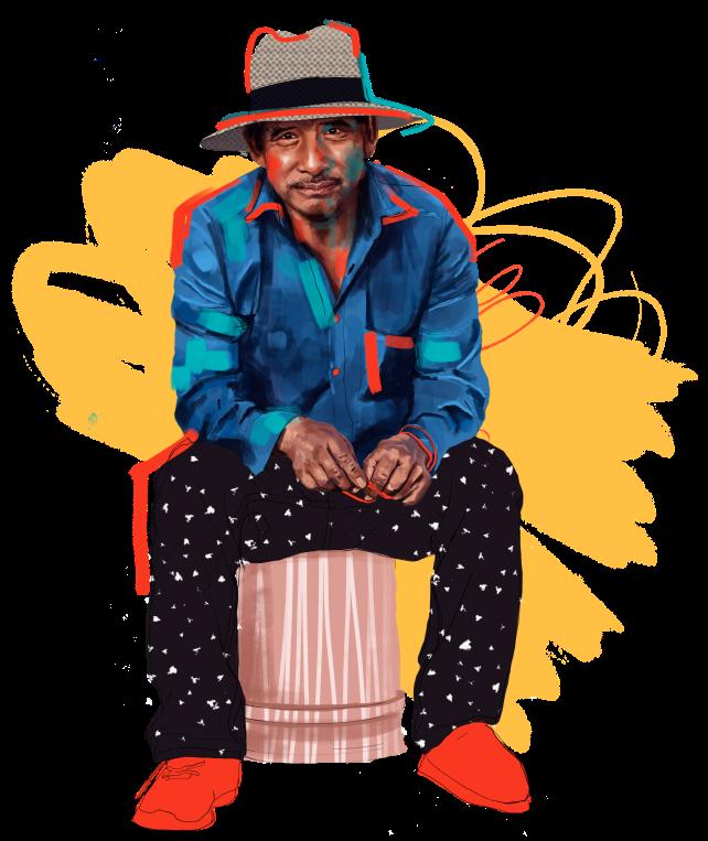 man sitting on chair illustration