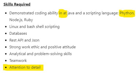job description grammar errors