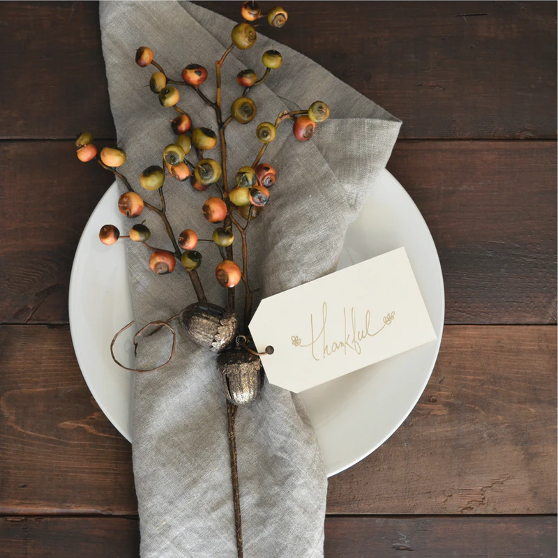 """A branch with a card attached that says """"thankful"""" as a means of expressing gratitude."""