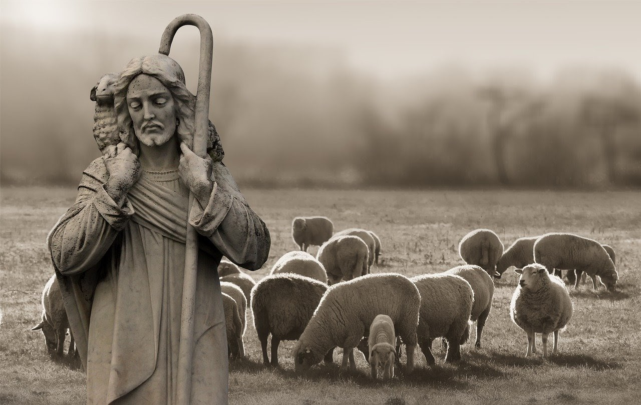 jesus with sheep on his shoulder and surrounded by sheep