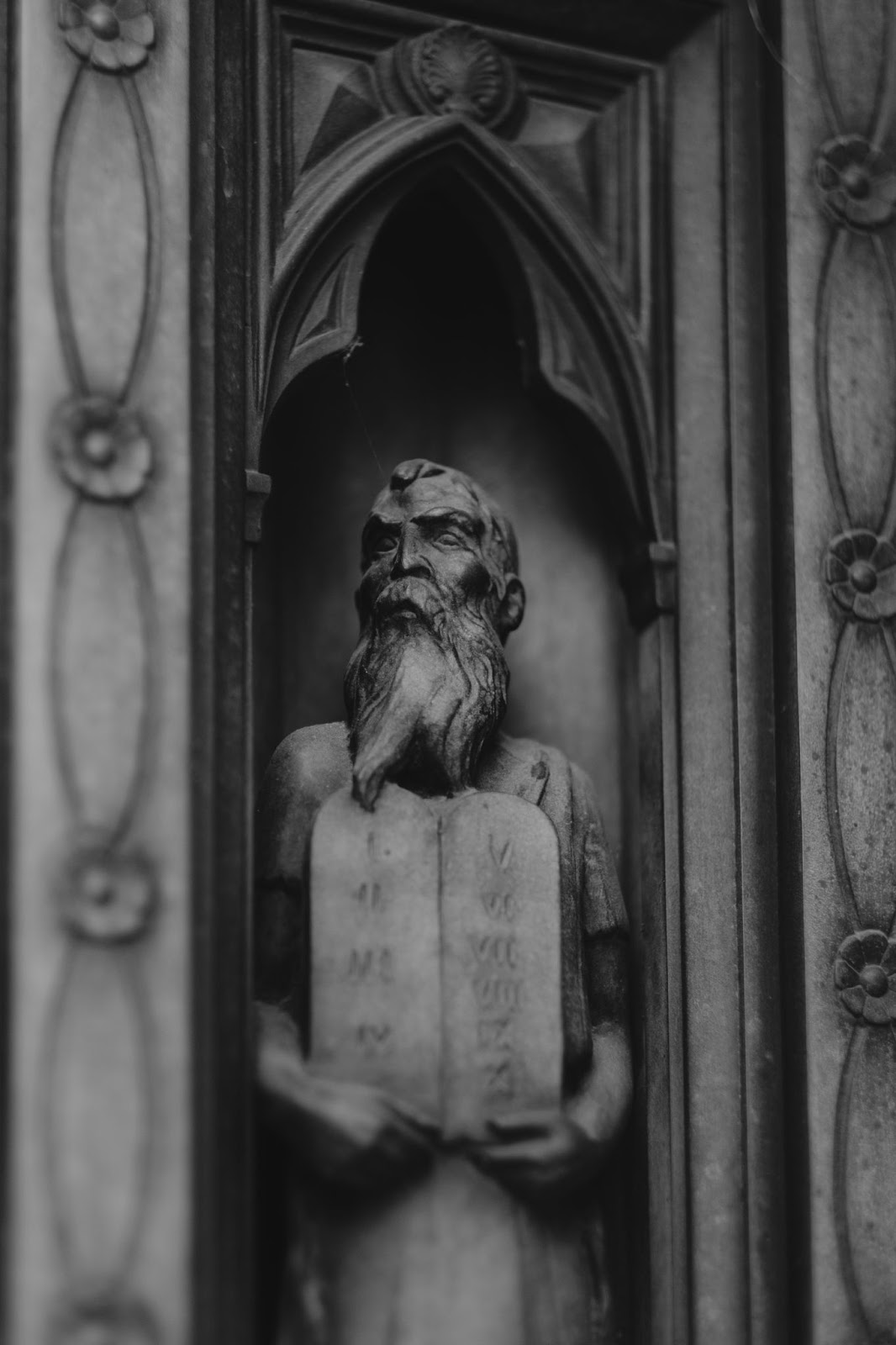 Statue of Moses holding the tablets of the Ten Commandments,