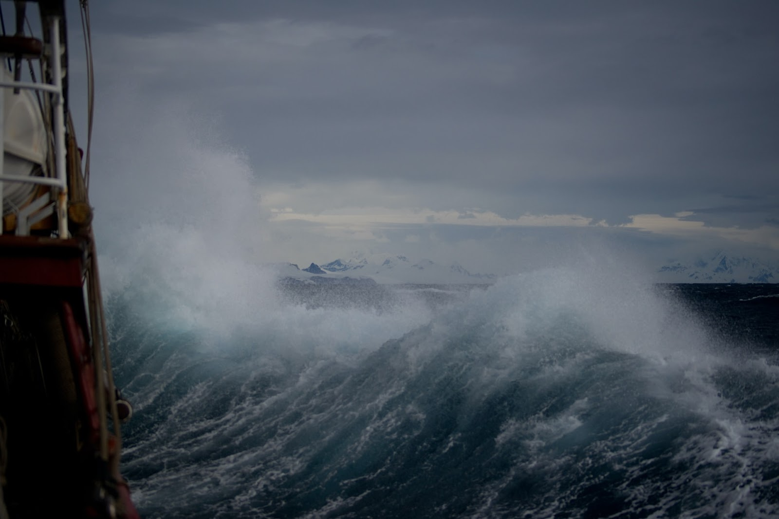 a boat on a raging storm