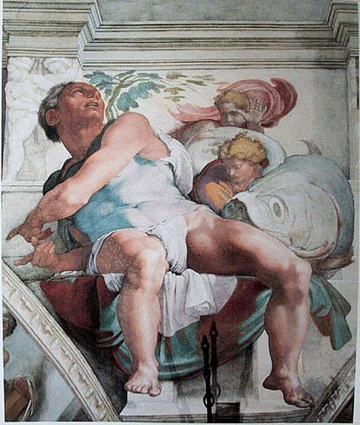 Painting of Jonah on ceiling of Sistine Chapel by Michelangelo