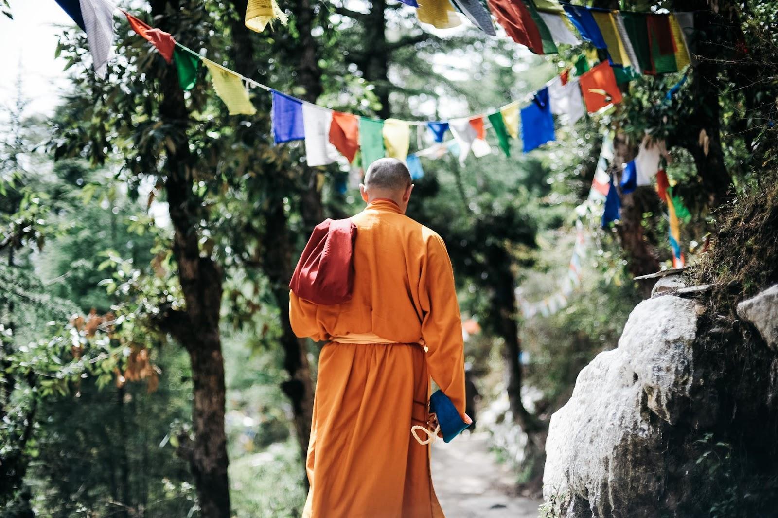 Buddhist monk walking away