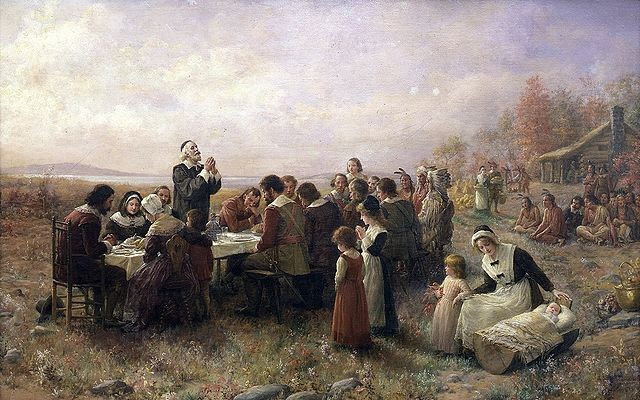 Painting by Jennie Augusta Brownscombe of the First Thanksgiving