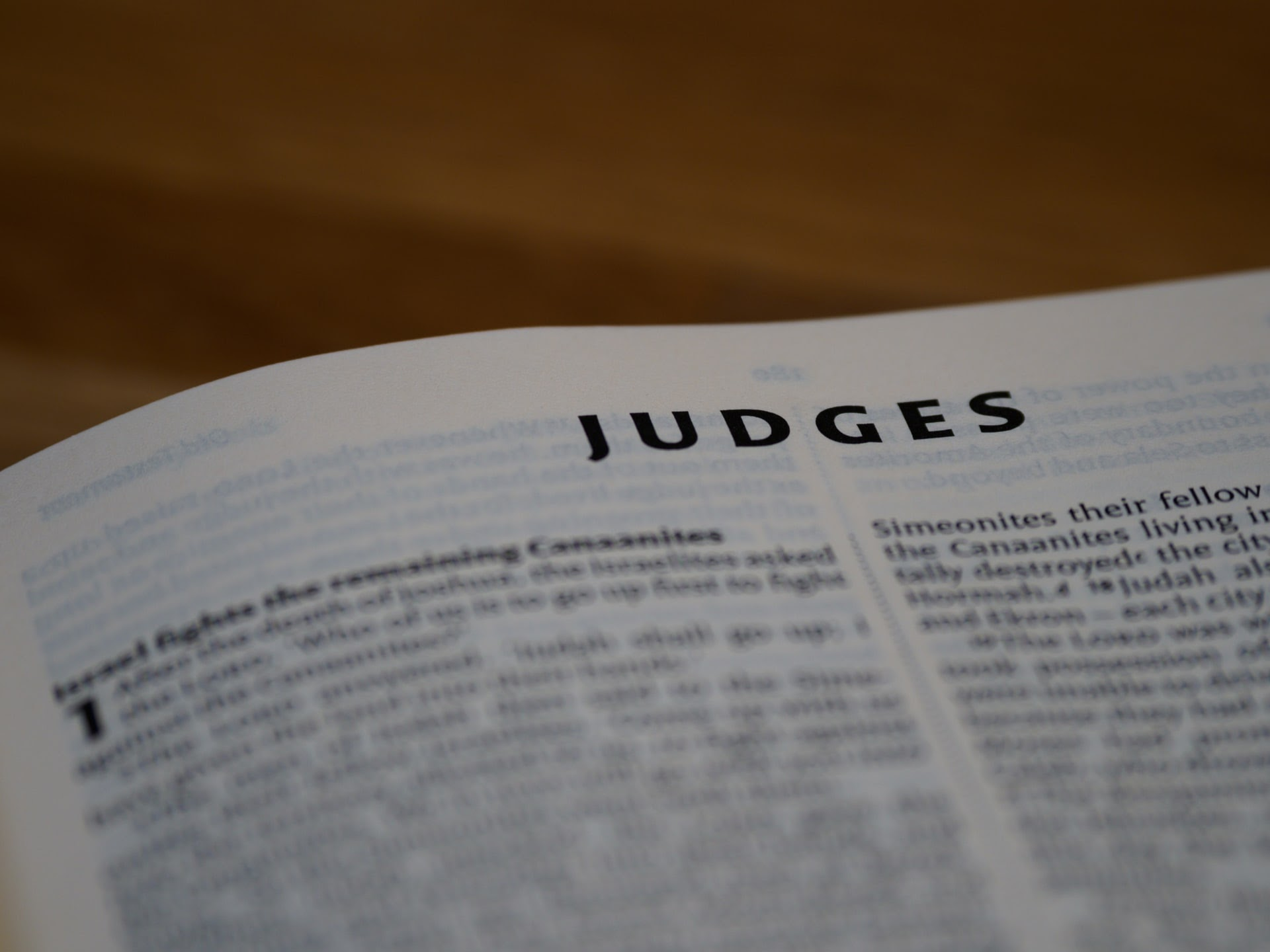 Bible open to the Book of Judges