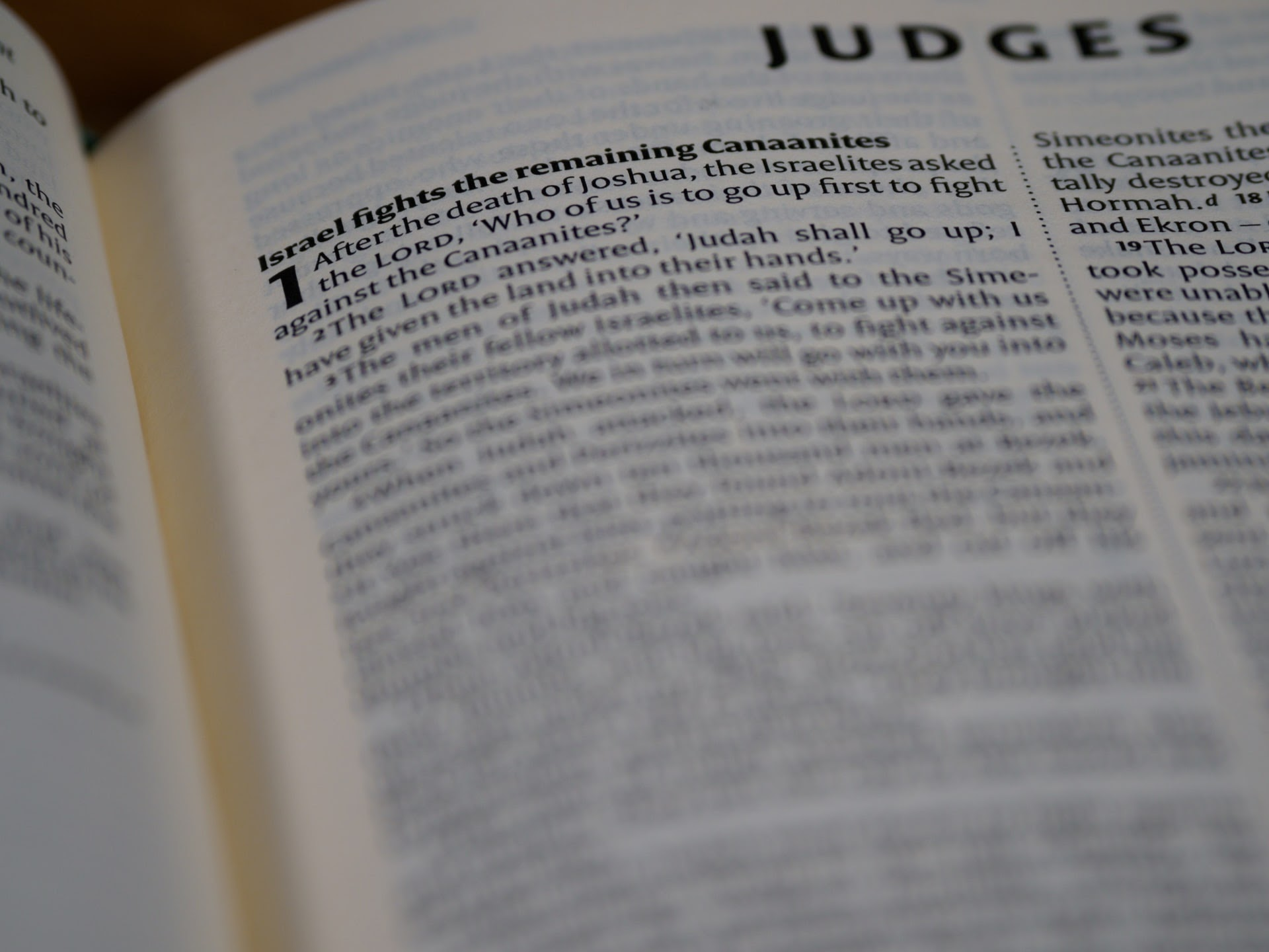 a close up of the Book of Judges chapter in the Bible