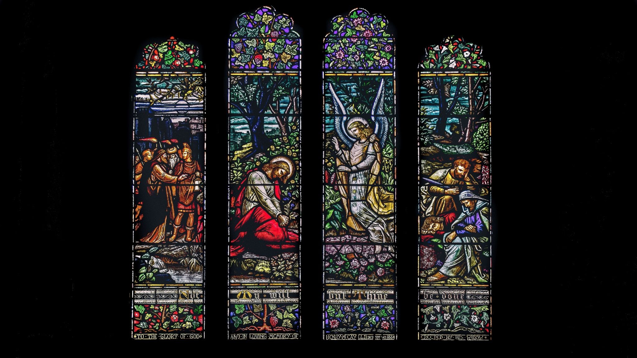 Stain-glass window depicting Jesus and his disciples