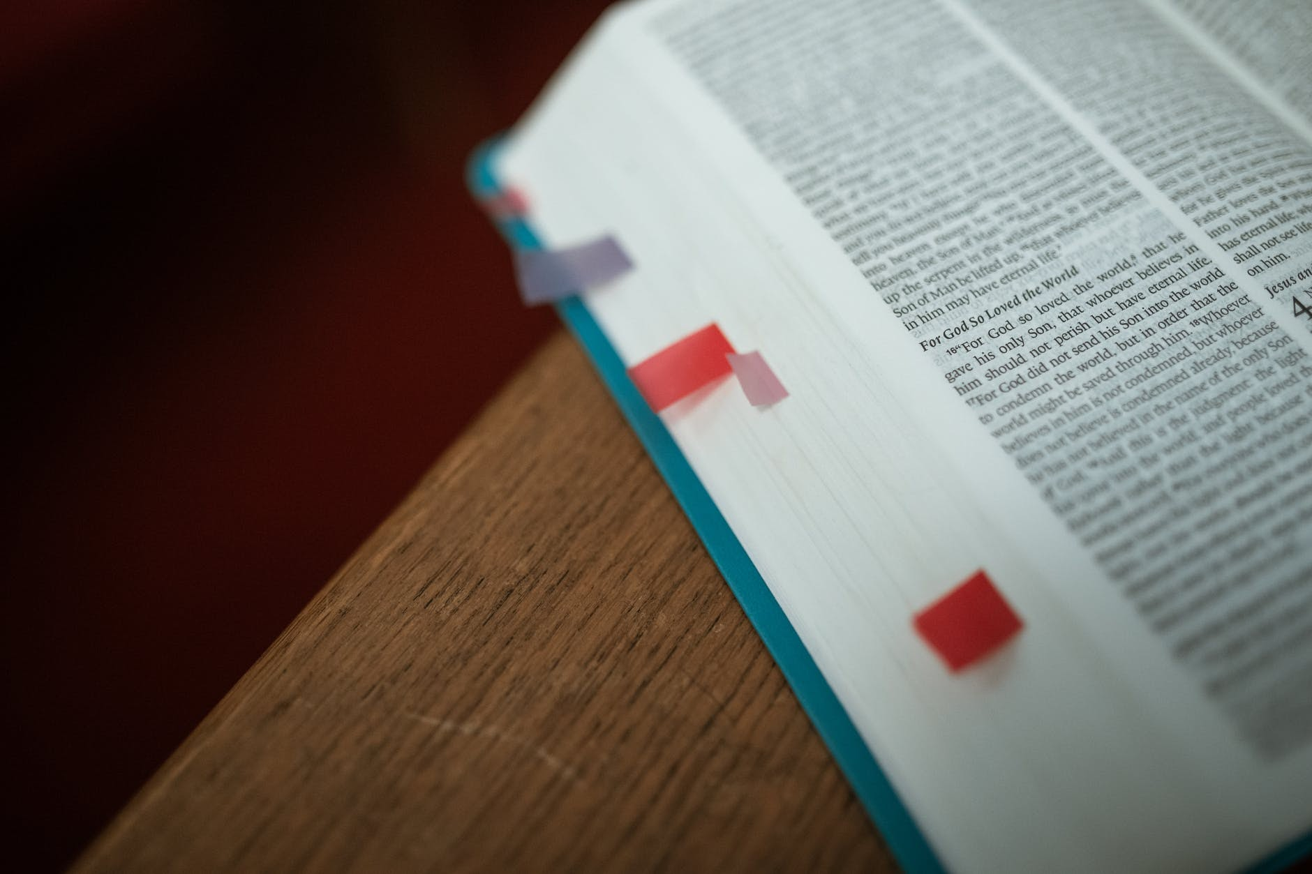 the Bible with bookmarked pages