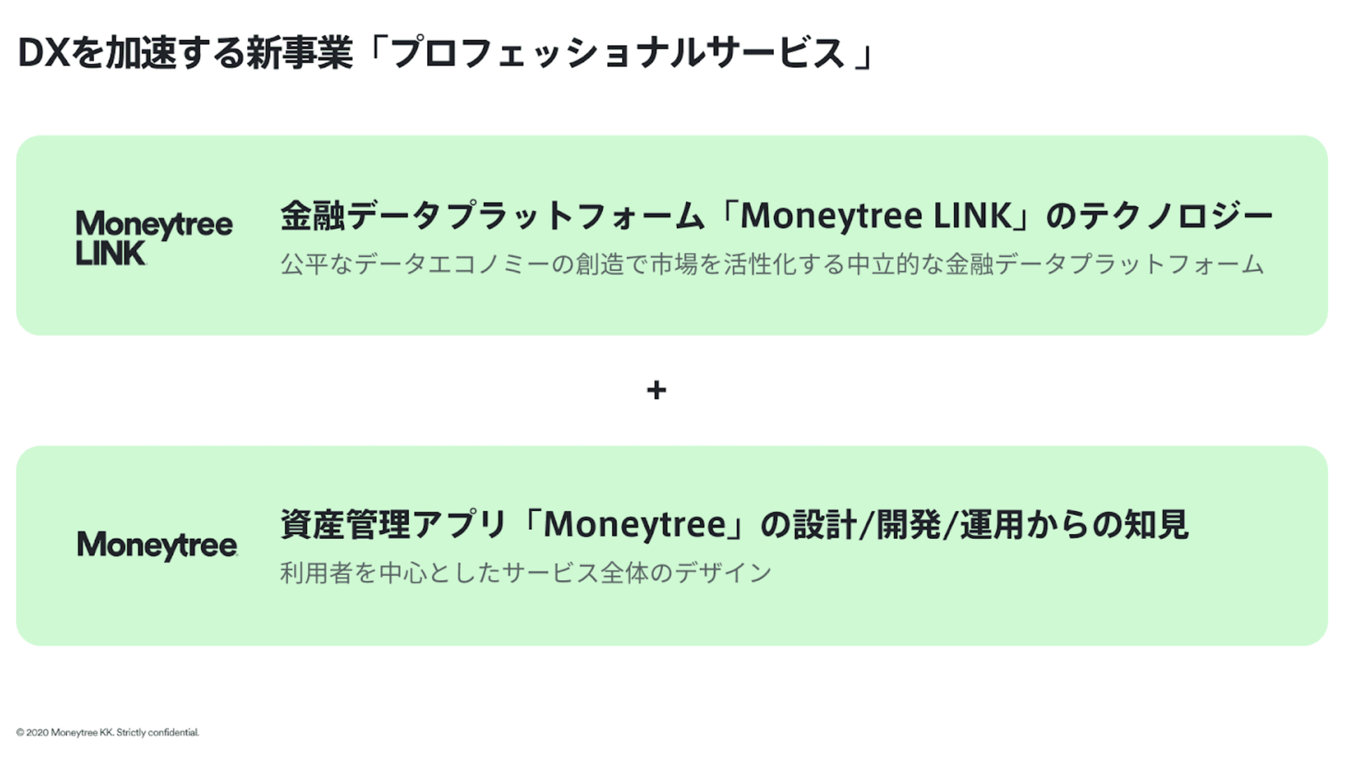 Moneytree LINKの新事業プロフェッショナルサービス概要。金融データプラットフォームのMoneytree LINKのテクノロジーと資産管理アプリMoneytreeのかいは開発や運用からの知見
