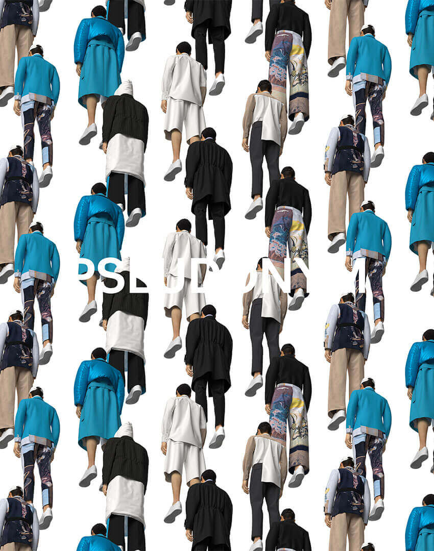 PSEUDONYM SS20 fashion/apparel campaign, Virtual Artifacts 01—Pseudonym looks, bottom view.