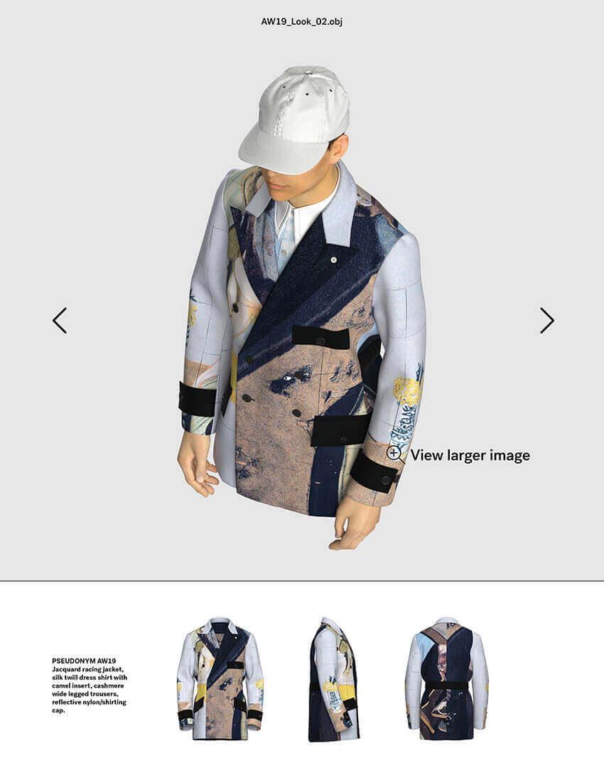 PSEUDONYM SS20 fashion/apparel campaign, Virtual Artifacts 02—custom jacquard racing coat.
