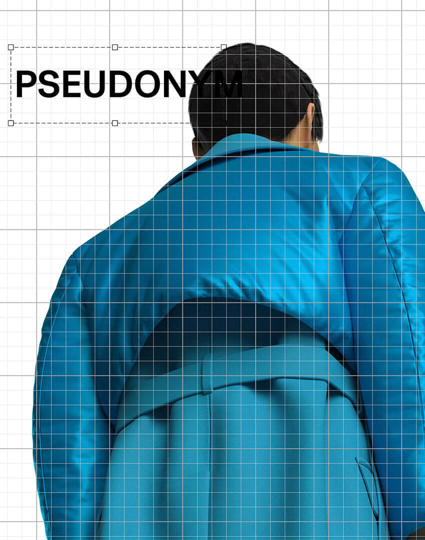 PSEUDONYM SS20 fashion/apparel campaign, Virtual Artifacts 03—blue oversized puffer, back view.