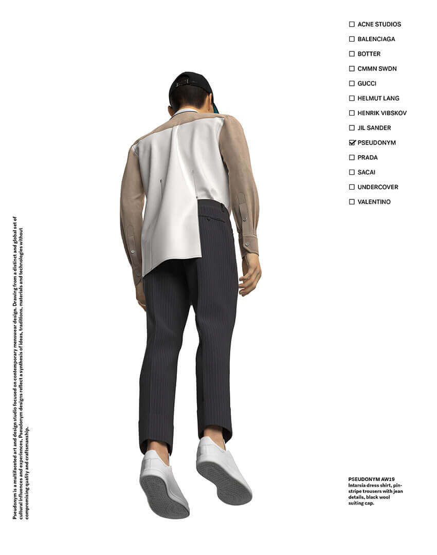 PSEUDONYM SS20 fashion/apparel campaign, Virtual Artifacts 05—vase ombré shirt and cuff pants, bottom-up view.